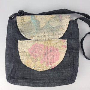 Fabric Flower Print Crossbody Book Bag